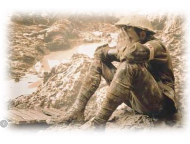 Wanhopige soldaat in de loopgraven tijdens de Eerste Wereldoorlog