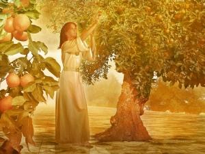 Vrouw in het paradijs die de vruchten der aarde plukt