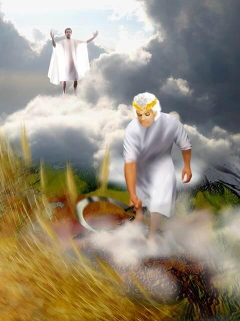 Engelen scheiden de tarwe van het onkruid onder leiding van Christus